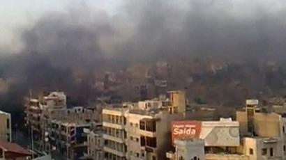The smoke rising in the city of Hama  in this still image taken from video July 31, 2011 (AFP Photo / Youtube)
