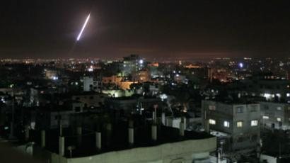 A rocket is launched from Rafah, in the southern Gaza strip towards Israel, on November 14, 2012. (AFP Photo/Saib Khatib)