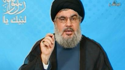 An image grab taken from Lebanon's Hezbollah-run Manar TV shows Hezbollah chief Hassan Nasrallah delivering a televised speech from an undisclosed location on September 16, 2012. (AFP Photo/MANAR TV)