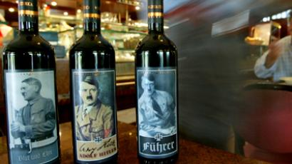 Bottles of red wine with labels depicting Adolf Hitler are displayed at a wine-bar in Rome (Reuters / Max Rossi)