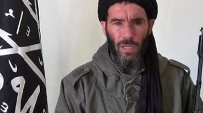 An undated grab from a video obtained by ANI Mauritanian news agency reportedly shows former Al-Qaeda in the Islamic Maghreb (AQIM) emir Mokhtar Belmokhtar speaking at an undisclosed location. (AFP Photo/ANI)