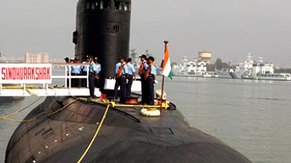 The Indian Navy's Sindhurakshak submarine is docked in Visakhapatnam. (Reuters / Kamal Kishore)