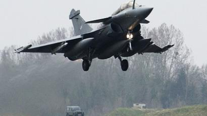 A French Dassault Rafale combat aircraft, seen in this photo released by ECPAD (French Defence communication and audiovisual production agency), takes off from Saint-Dizier military base, eastern France, March 19, 2011, on a mission to overfly Libya