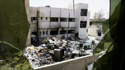 A general view of main yard of the torched police station in the city of Zawiya, west of Tripoli on April 5, 2011 (AFP Photo / Joseph Eid)