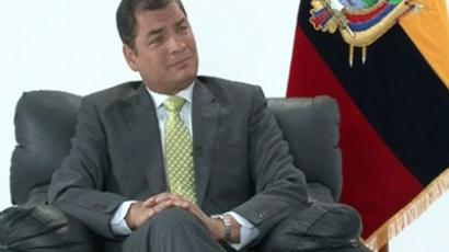 Ecuador`s President Rafael Correa. Still from RT video.