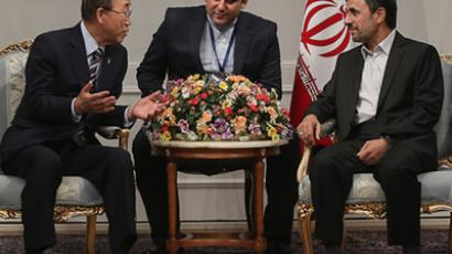 United Nations Secretary-General Ban Ki-moon (L) speaks with Iran's President Mahmoud Ahmadinejad (R) upon arrival for the 16th summit of the Non-Aligned Movement in Tehran August, 29, 2012. (Reuters/Arash Khamooshi/ISNA/Handout)