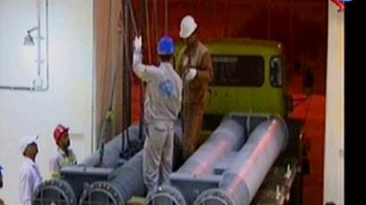 An image grab taken from footage broadcast by Iran's state-run Arabic-language Al-Alam TV on May 11, 2011 shows Iranian scientists receiving a shipment of nuclear fuel from Russia for use at Iran's Bushehr nuclear power plant (AFP Photo / Al-Alam TV)