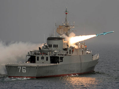 a test firing of an Iranian Nour missile from the Islamic republic's first domestically-manufactured destroyer, named Jamaran, off the southern shores of the Gulf. This is the first time a Nour missile is launched for testing from the locally-made warship.(AFP Photo / Ebrahim Noroozi)