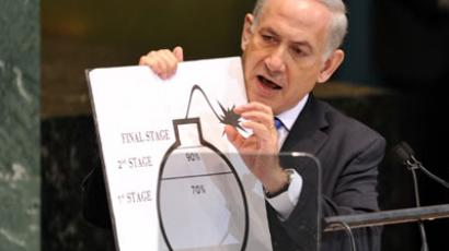 Benjamin Netanyahu, Prime Minister of Israel, uses a chart as he speaks about the Iranian nuclear program during the 67th session of the United Nations General Assembly.(AFP Photo / Stan Honda)