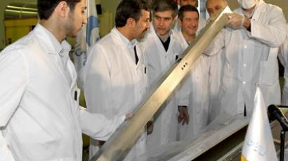 ran's President Mahmoud Ahmadinejad (2nd L) attends the unveiling ceremony of new nuclear projects in Tehran. (Reuters / / President.ir / Handout)