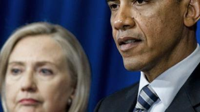 US President Barack Obama speaks alongside US Secretary of State Hillary Clinton. (AFP Photo / Saul Loeb)