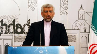 Iran's chief negotiator Saeed Jalili addresses a news conference after a meeting in Baghdad, May 24, 2012 (Reuters/Thaier al-Sudani)