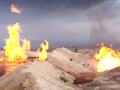 Major oil field on fire in Iran