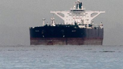 "Malta-flagged Iranian crude oil supertanker ""Delvar"" is seen anchored off Singapore  (Reuters/Tim Chong)"
