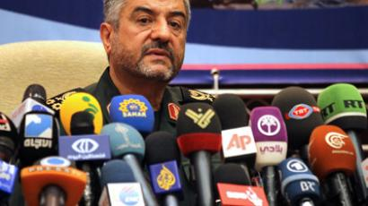 Iranian Revolutionary Guards commander Brigadier General Mohammad Ali Jafari holds a press conference in Tehran on September 16, 2012. (AFP Photo/Atta Kenare)