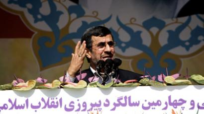 Iranian President Mahmoud Ahmadinejad delivers a speech during a rally in Tehran's Azadi Square (Freedom Square) to mark the 34th anniversary of the Islamic revolution on February 10, 2013 (AFP Photo / Behrouz Mehri)