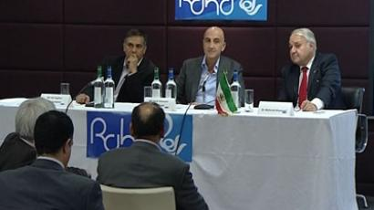 Amir Hossein Jahanchahi is presenting his new opposition Raha TV channel in London. RT video screen shot
