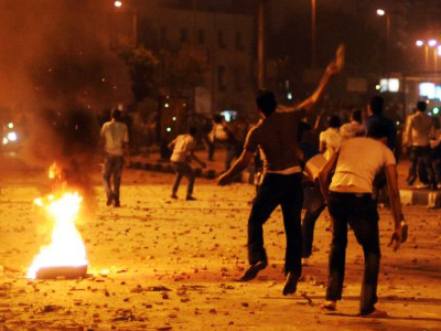 Egyptian demonstrators during clashes outside the Israeli embassy in Cairo on September 10, 2011 (AFP Photo / Mohamed Hossam)