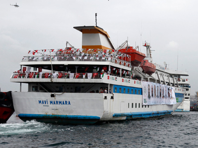 The cruise liner Mavi Marmara arrives at the port of Istanbul December 26, 2010 (Reuters/Osman Orsal)