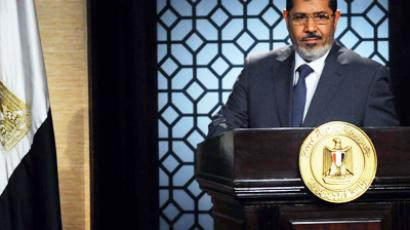 Egypt's new president-elect, Muslim Brotherhood leader Mohamed Morsi, gives a speech in the studio of the state television in Cairo on June 24, 2012 after winning the Egyptian presidential elections (AFP Photo / STR)