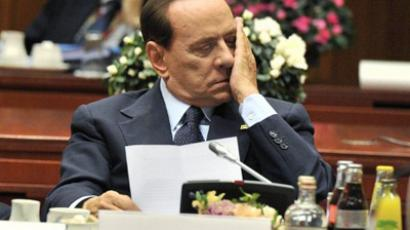 A picture taken on October 23, 2011 shows Italian Prime Minister Silvio Berlusconi during the meeting of Heads of State or Government of the Euro area as part of an European Council in Brussels (AFP Photo / Georges Gobet)