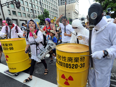 Protesters during an anti nuclear power demonstration march in Tokyo.(AFP Photo / Kazuhiro Nogi)