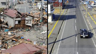 A tsunami hit area of Ofunato, Iwate prefecture on March 14, 2011 (L) and on January 15, 2012 (R) (AFP Photo / Toshifumi Kitamura (L) / Toru Yamanaka (R))
