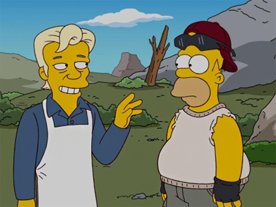 Homer and Marge meet new neighbor Julian Assange, left, in 'The Simpsons' 500th episode, to run February 19 (FOX TV)