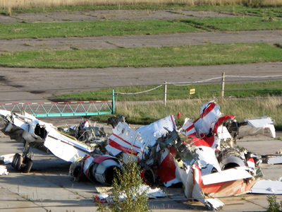 The wreckage of the Polish Tupolev Tu-154M presidential aircraft is seen at the airport in Smolensk October 1, 2010 (Reuters / Lidia Kelly)
