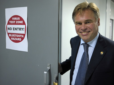 Evgeny Kaspersky, founder and CEO of Kaspersky Lab, Europe's and Russia's largest producer of anti-virus computer software, in the company's office. (RIA Novosti/Sergey Guneev)