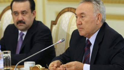 Kazakh President Nursultan Nazarbayev, and Kazakh Prime Minister Karin Masimov, from right to left (RIA Novosti / Aleksey Nikolskyi)