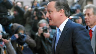 Britain's Prime Minister David Cameron arrives at a European Union summit in Brussels December 9, 2011 (Reuters / Ezequiel Scagnetti)
