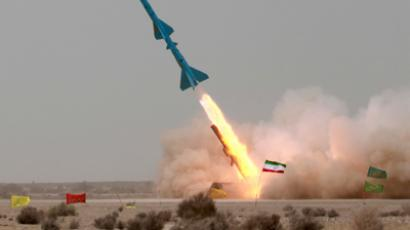 "An Iranian short range ""Tondar"" missile is launched during a war game at an undisclosed location in Iran (Reuters/Fars News Agency/Handout)"