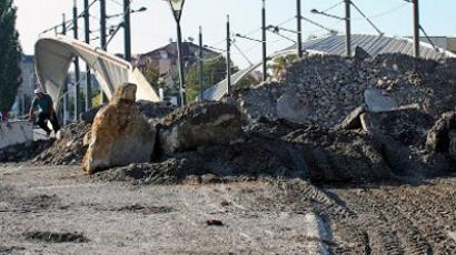 A concrete reinforced barricade in front of the main bridge, one of the two bridges built between the south, the ethnic Albanian-dominated part and the north, the Serb-dominated part of Mitrovica. October 2, 2011 (AFP Photo / Str)
