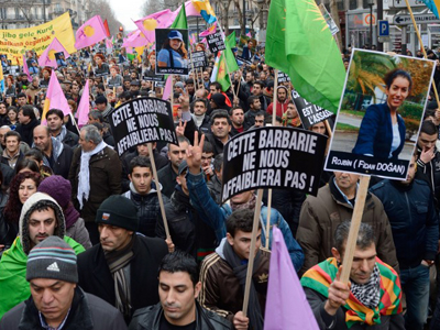 France under fire from PKK and Turkey as thousands protest Kurdish women's murder (PHOTOS)