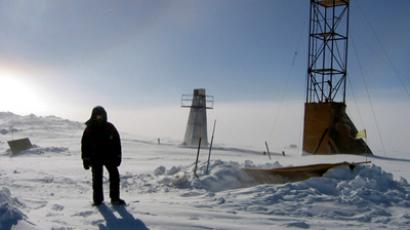 A man stands near drilling apparatus at the Vostok (Lake) research camp in Antarctica (Reuters / Handout)