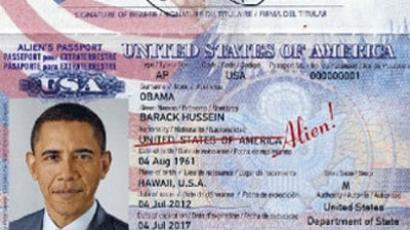 """Alien"" passport for Barack Obama (photo from http://russkie.org.lv/)"