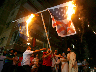 Lebanon protesters burn US, Israeli flags (PHOTOS)