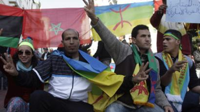 Local Amazigh people attend a rally in celebration of the Amazigh New Year, and also to express solidarity with Libyan Amazigh people, in Rabat January 15, 2012. In addition to demanding a greater say in Libya's new political order, the Amazigh, or Berber, ethnic minority are seeking recognition of their language and culture. REUTERS/Stringer