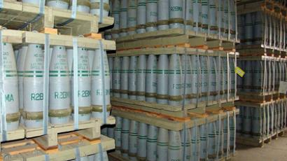 Pallets of 155 mm artillery shells containing mustard gas at Pueblo chemical weapons storage facility in Colorado state, USA