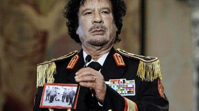 A file picture taken on June 10, 2009 shows Libya's leader Moamer Kadhafi addressing a press conference at Rome's Quirinale presidential palace in Italy (AFP Photo / Filippo Monteforte)
