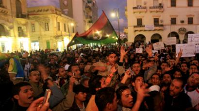 People protest against the National Transitional Council and its head Mustafa Abdel Jalil, calling for transparency, in the city centre of Benghazi December 16, 2011 (Reuters / Esam Al-Fetori)