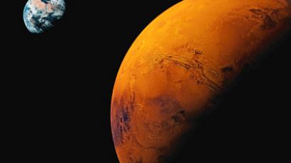 Planet Mars, Earth visible in background