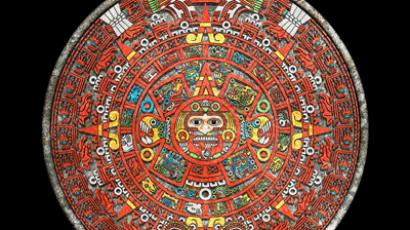 Aztec Calendar, an adaptation of the Mayan calendar, consisted of a 365-day agricultural calendar, as well as a 260-day sacred calendar. (This is a digital composite. Color added for visibility.)