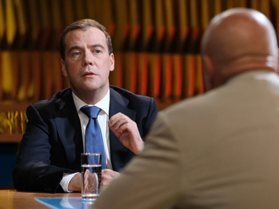 Dmitry Medvedev on Channel One Russia TV program (RIA Novosti/Ekaterina Shtukina)