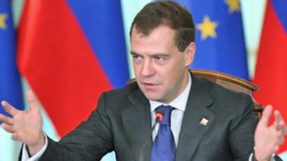 Russia, Rostov-on-Don : Russian President Dmitry Medvedev gestures while speaking during the EU-Russia Summit in Rostov-on-Don on June 1, 2010.  (AFP Photo / Mikhail Klimentyev)