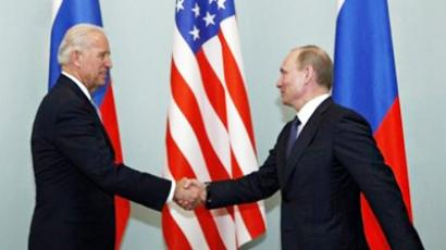 Vice President of the United States Joe Biden, left, shakes hands with Russian Prime Minister Vladimir Putin in Moscow, Russia, Thursday, March 10, 2011