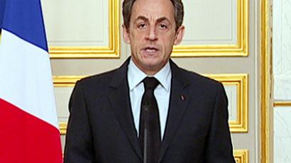 France's President Nicolas Sarkozy is seen making a statement on French national television from the Elysee Palace in Paris, in this still image taken from video, March 22, 2012 (Reuters / France Television)