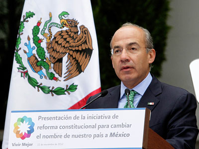 Mexican President Felipe Calderon speaking about his proposal to change the name of the country, at Los Pinos presidential palace on November 22, 2012.(AFP Photo / Presidencia)