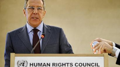 Geneva: Russian Foreign Minister Sergei Lavrov delivers a speech on February 28, 2011 during the opening of the 16th session of the United Nations Human Rights Council in Geneva, focusing on repression in Libya. (AFP Photo / Fabrice Coffrini)